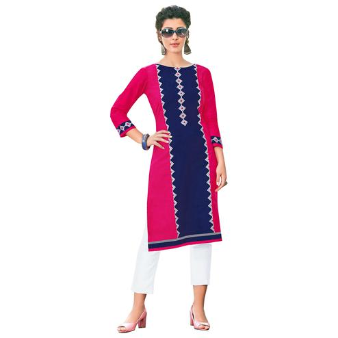 Eye-Catching Pink-Navy Colored Casual Printed Jetpur Cotton Kurti