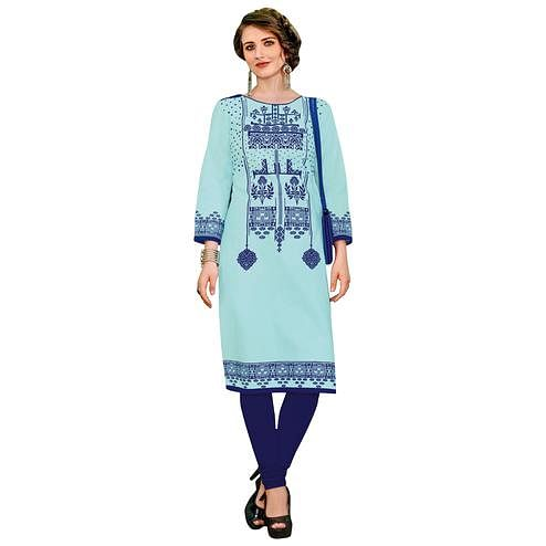 Demanding Sky Blue Colored Casual Printed Jetpur Cotton Kurti