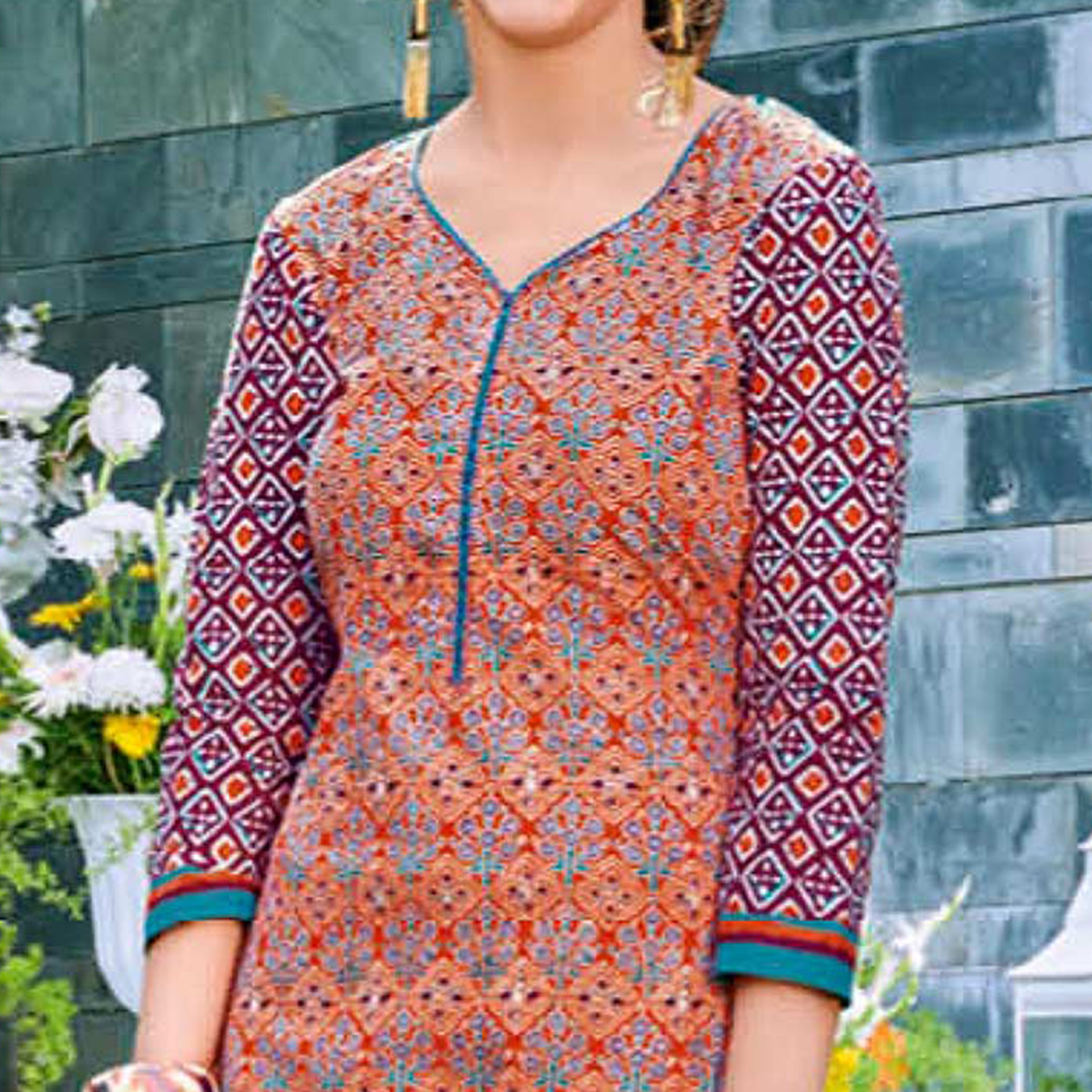 Trendy Orange Colored Casual Printed Jetpur Cotton Kurti
