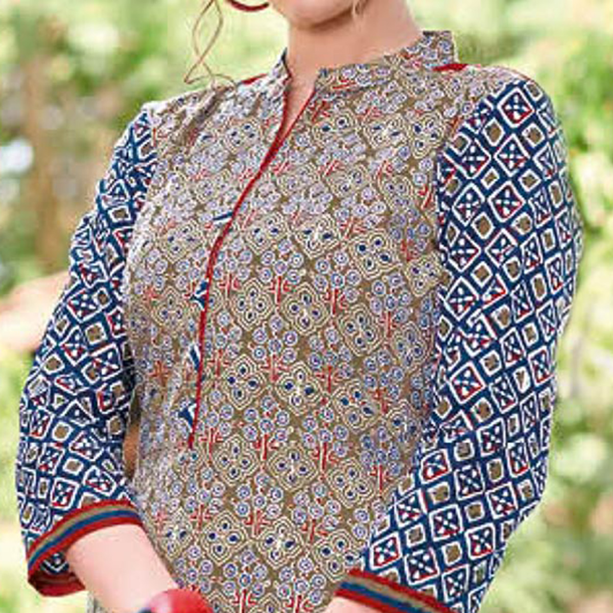 Desiring Gray Colored Casual Printed Jetpur Cotton Kurti