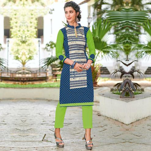 Opulent Blue Colored Casual Printed Jetpur Cotton Kurti
