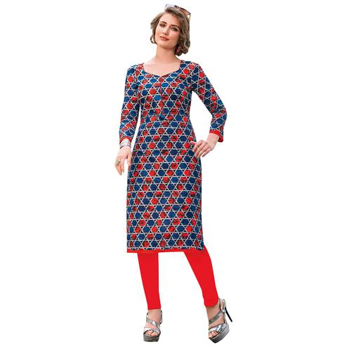 Mesmeric Multi Colored Casual Printed Jetpur Cotton Kurti