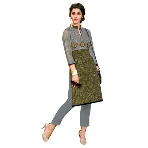 Unique Gray-Green Colored Casual Printed Jetpur Cotton Kurti