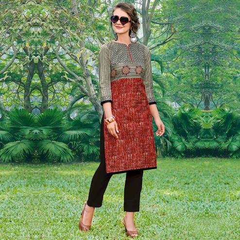 Impressive Gray-Red Colored Casual Printed Jetpur Cotton Kurti