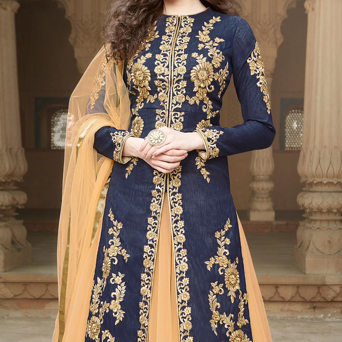 Navy Blue - Cream Heavy Embroidered Work Lehenga Suit