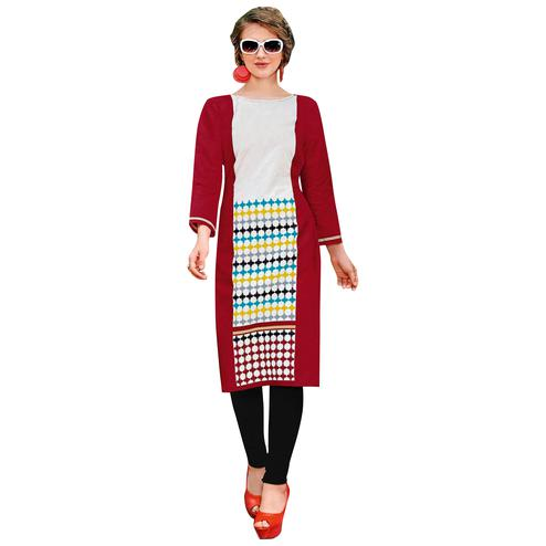 Attractive Red Colored Casual Printed Jetpur Cotton Kurti