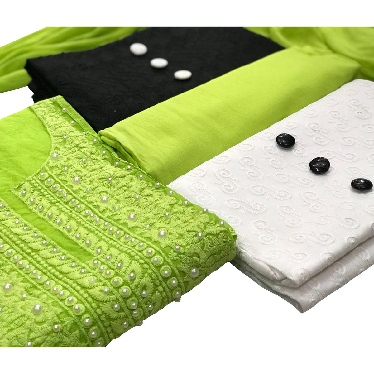 Modal-Cotton Dress Material : Pack Of 3 Tops (Green-Black-White) With 1 Bottom & Dupatta
