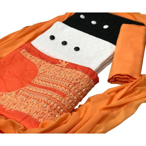 Modal-Cotton Dress Material : Pack Of 3 Tops (Orange-Black-White) With 1 Bottom & Dupatta