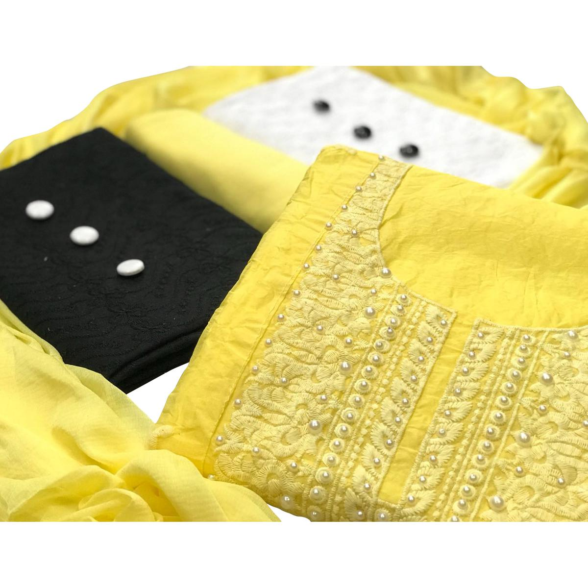 8a548185ed Buy Modal-Cotton Dress Material : Pack Of 3 Tops (Yellow-Black-White) With  1 Bottom & Dupatta for womens online India, Best Prices, Reviews - Peachmode