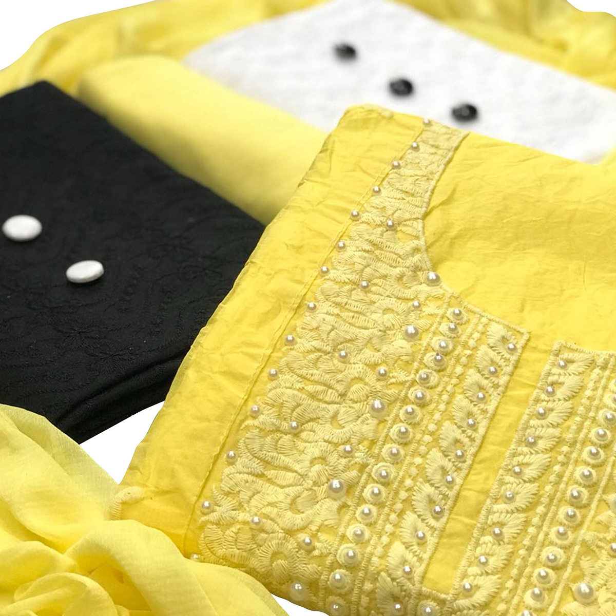 Modal-Cotton Dress Material : Pack Of 3 Tops (Yellow-Black-White) With 1 Bottom & Dupatta