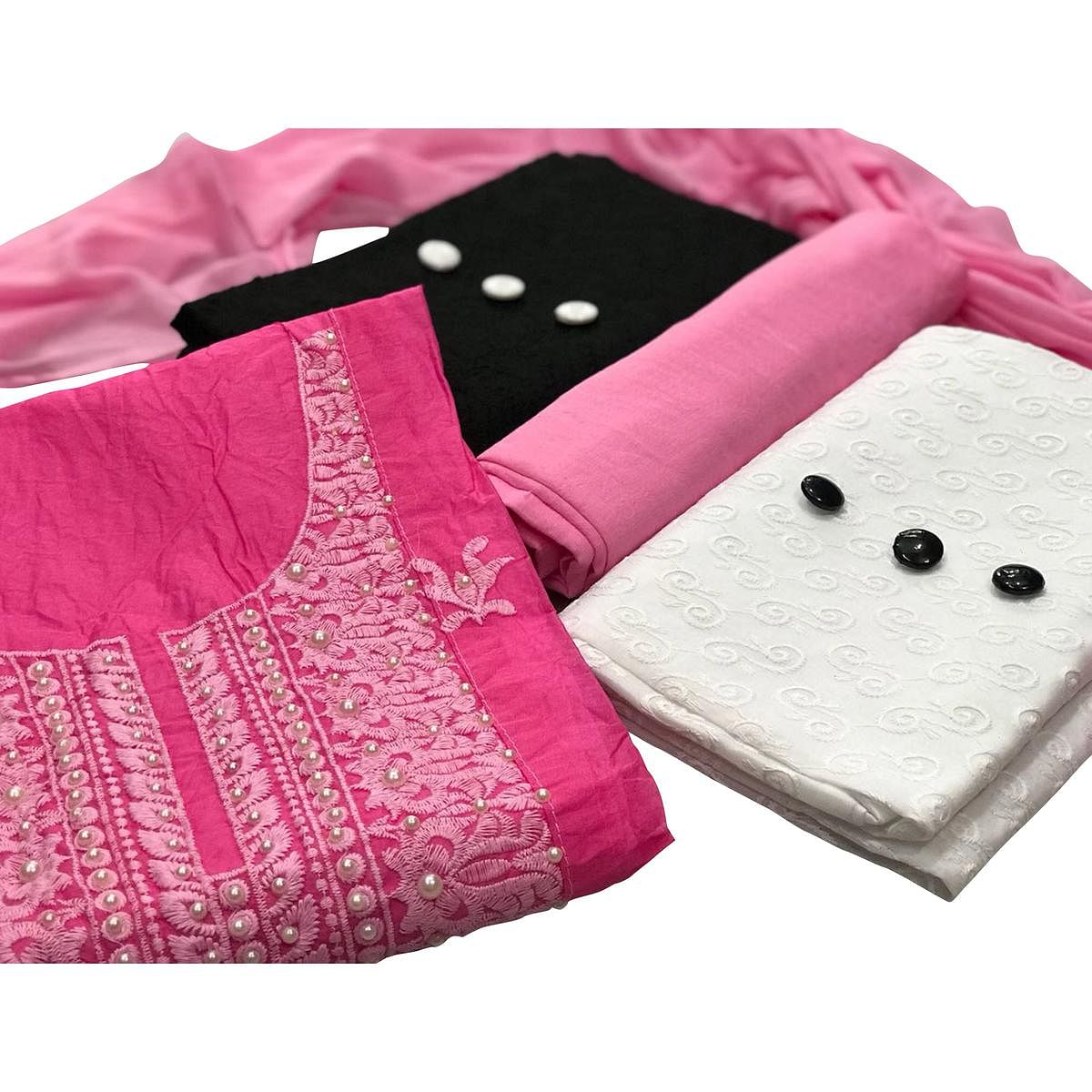 Modal-Cotton Dress Material : Pack Of 3 Tops (Pink-Black-White) With 1 Bottom & Dupatta