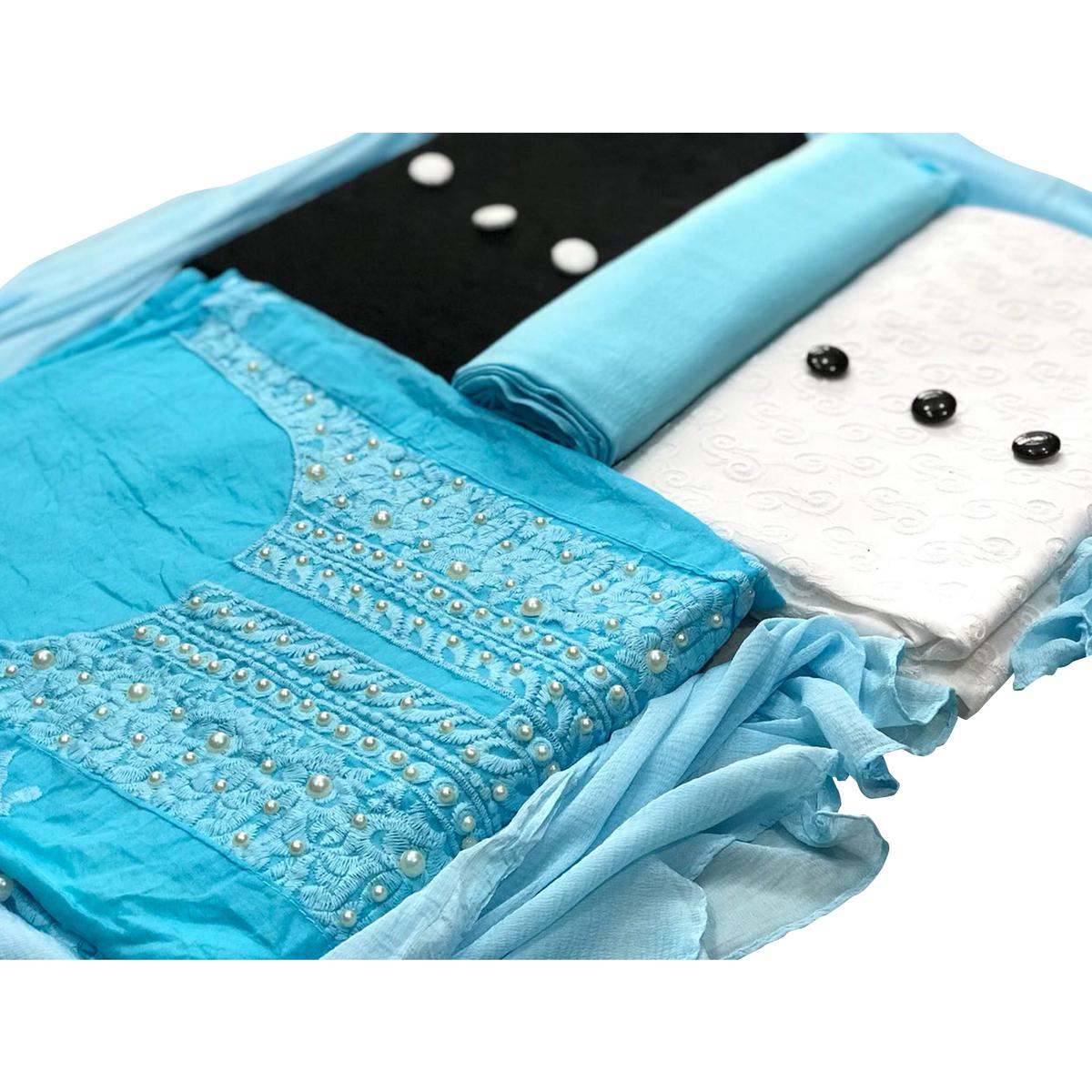 Modal-Cotton Dress Material : Pack Of 3 Tops (Sky Blue-Black-White) With 1 Bottom & Dupatta