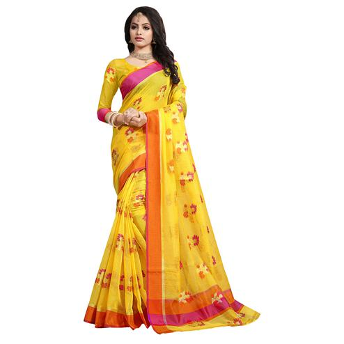 Glowing Yellow Colored Festive Wear Cotton Saree