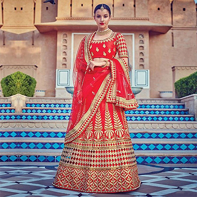 Red Heavy Embroidered Work Lehenga Choli