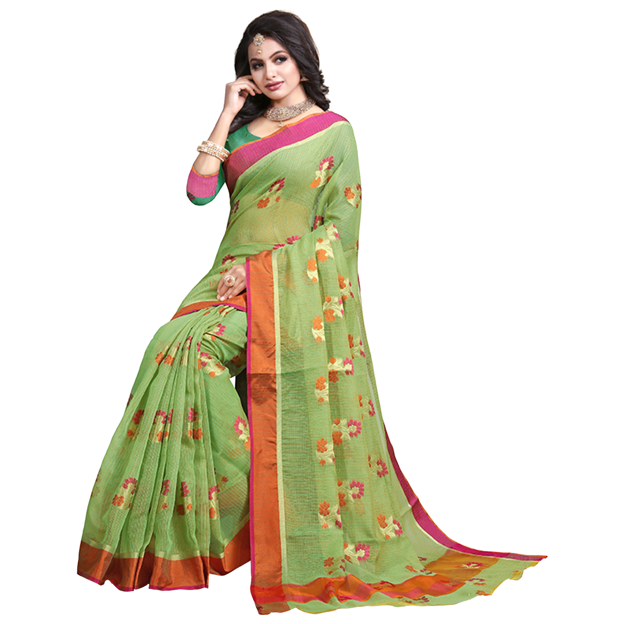Adorning Green Colored Festive Wear Cotton Saree