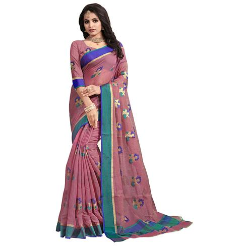 Unique Light Wine Colored Festive Wear Cotton Saree