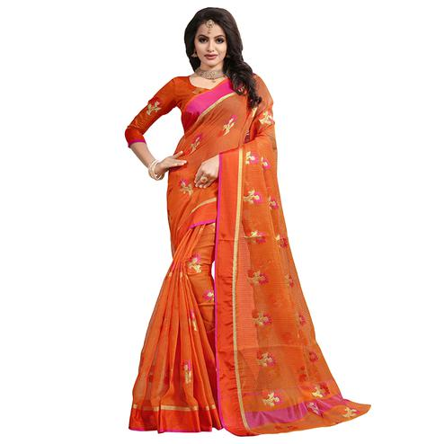 Traditional Orange Colored Festive Wear Cotton Saree