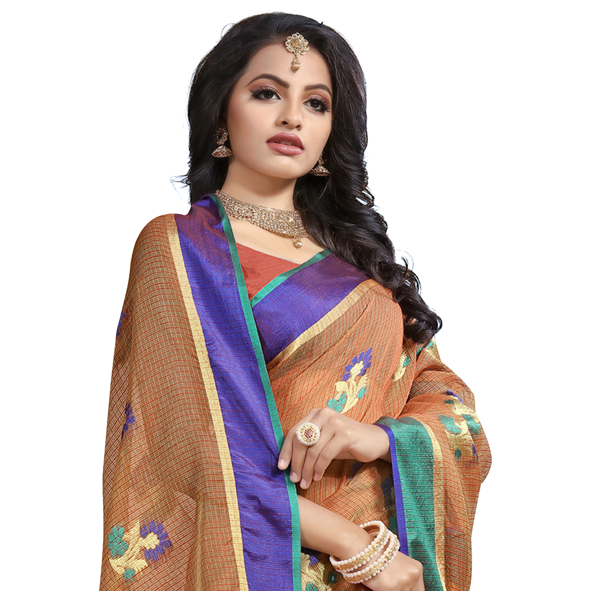 Attractive Light Brown Colored Festive Wear Cotton Saree