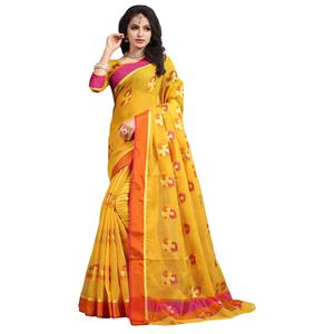 Eye-Catching Yellow Colored Festive Wear Cotton Saree