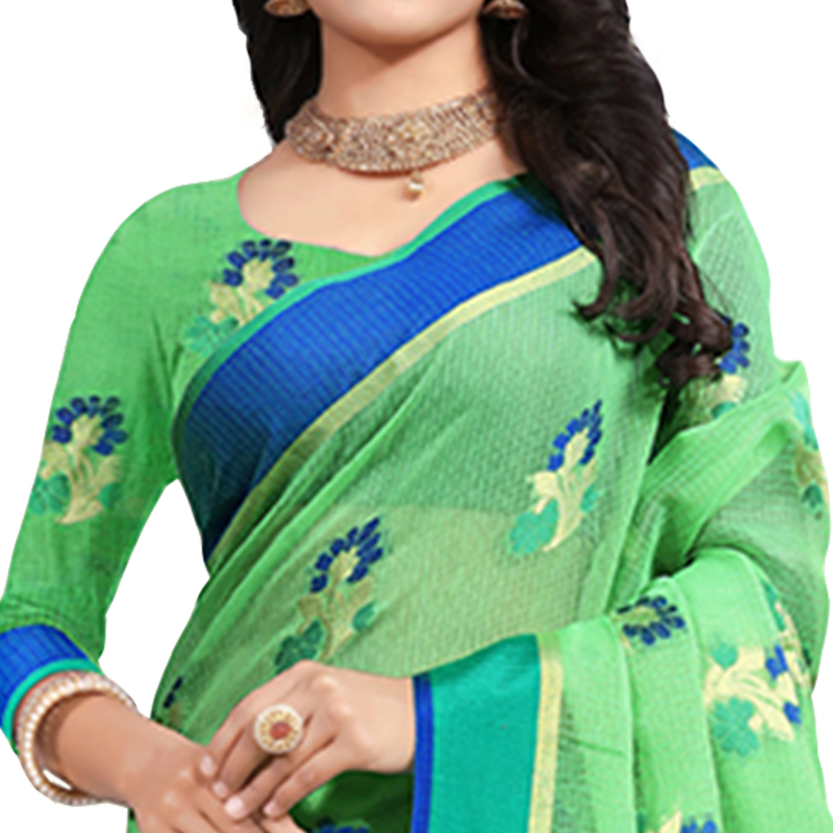 Groovy Green Colored Festive Wear Cotton Saree