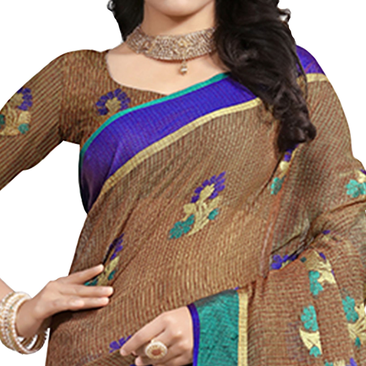 Beautiful Brown Colored Festive Wear Cotton Saree