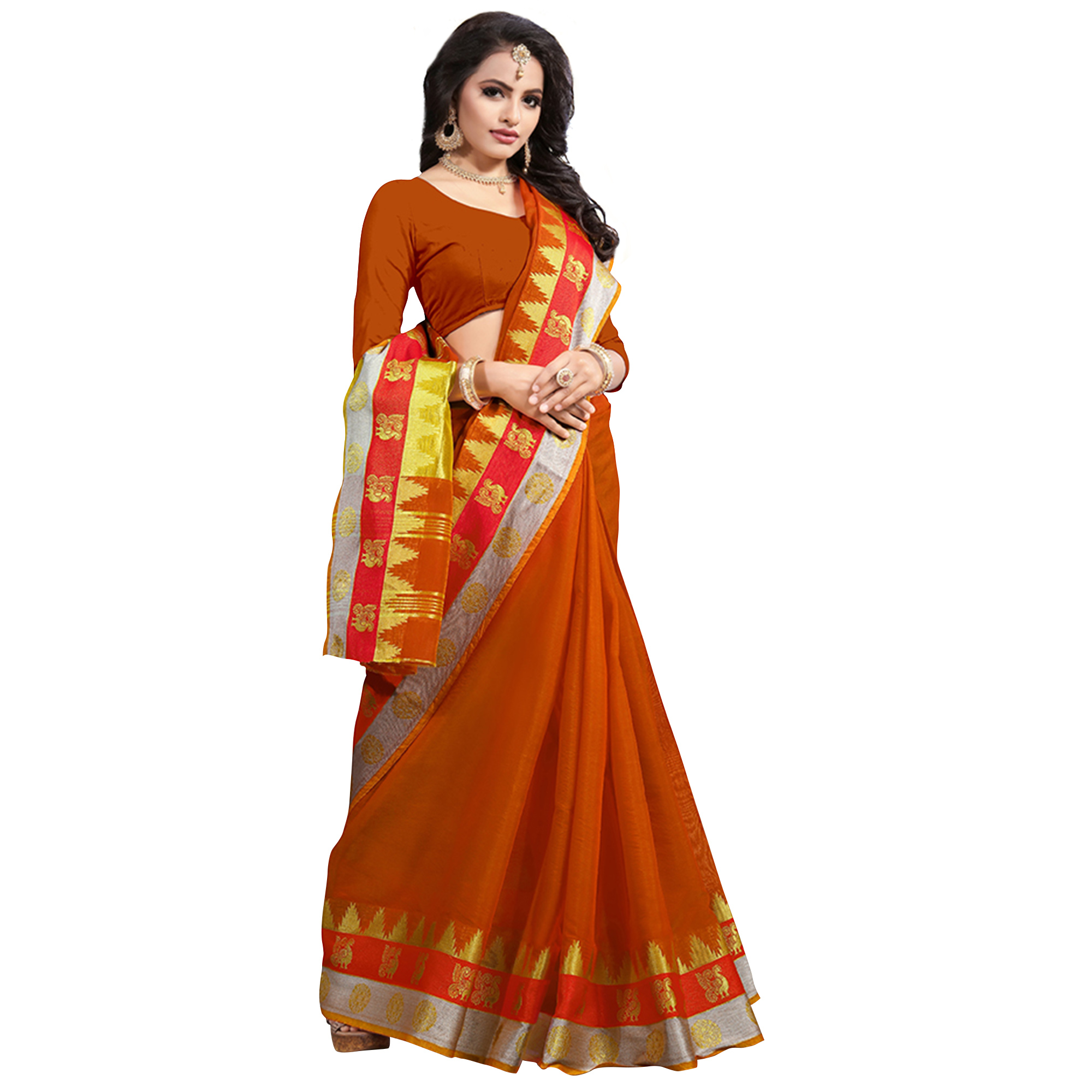 Classical Orange Colored Festive Wear Cotton Saree