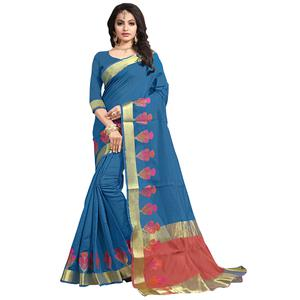 Beautiful Blue Colored Festive Wear Cotton Saree