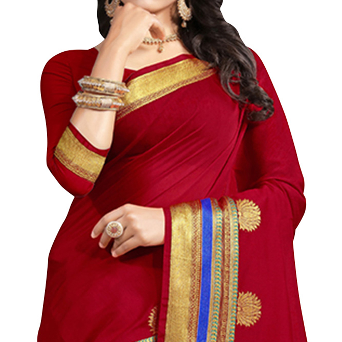 Demanding Red Colored Festive Wear Cotton Saree
