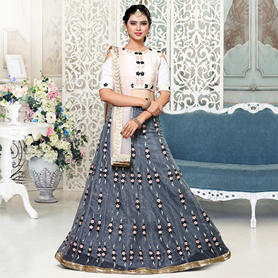 Grey - Pastel Pink Embroidered Lehenga Choli