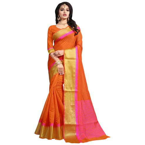 Adorning Orange Colored Festive Wear Cotton Saree