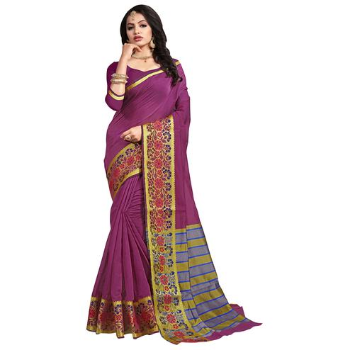 Pretty Purple Colored Festive Wear Cotton Saree