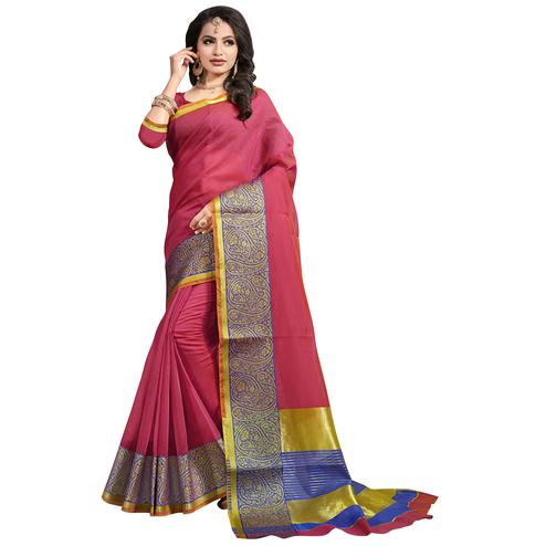 Charming Peach Colored Festive Wear Cotton Saree