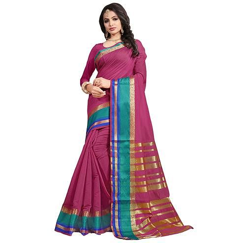 Lovely Pink Colored Festive Wear Cotton Saree
