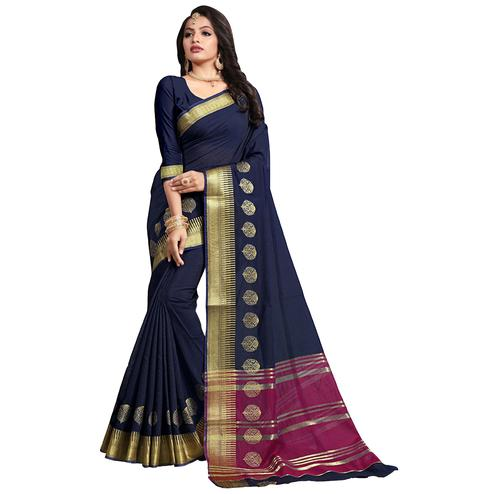 Mesmeric Navy Blue Colored Festive Wear Cotton Saree