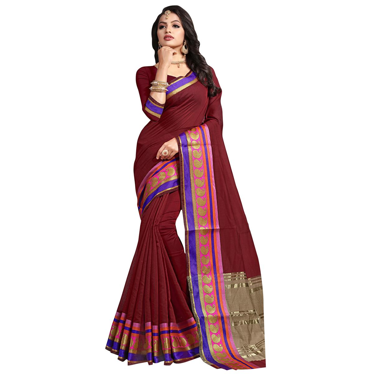 Majestic Maroon Colored Festive Wear Cotton Saree