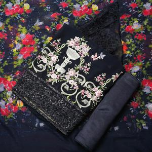 Exceptional Navy Blue Colored Partywear Embroidered Georgette Suit