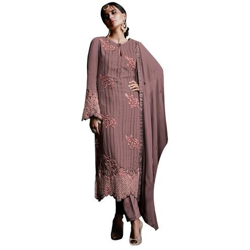 Impressive Wine Colored Partywear Embroidered Georgette Suit
