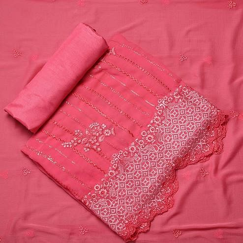 Charming Pink Colored Partywear Embroidered Georgette Suit