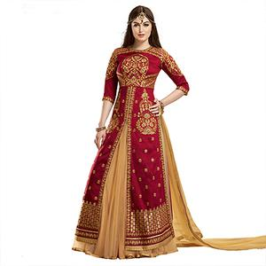 Maroon Embroidered Work Lehenga Suit