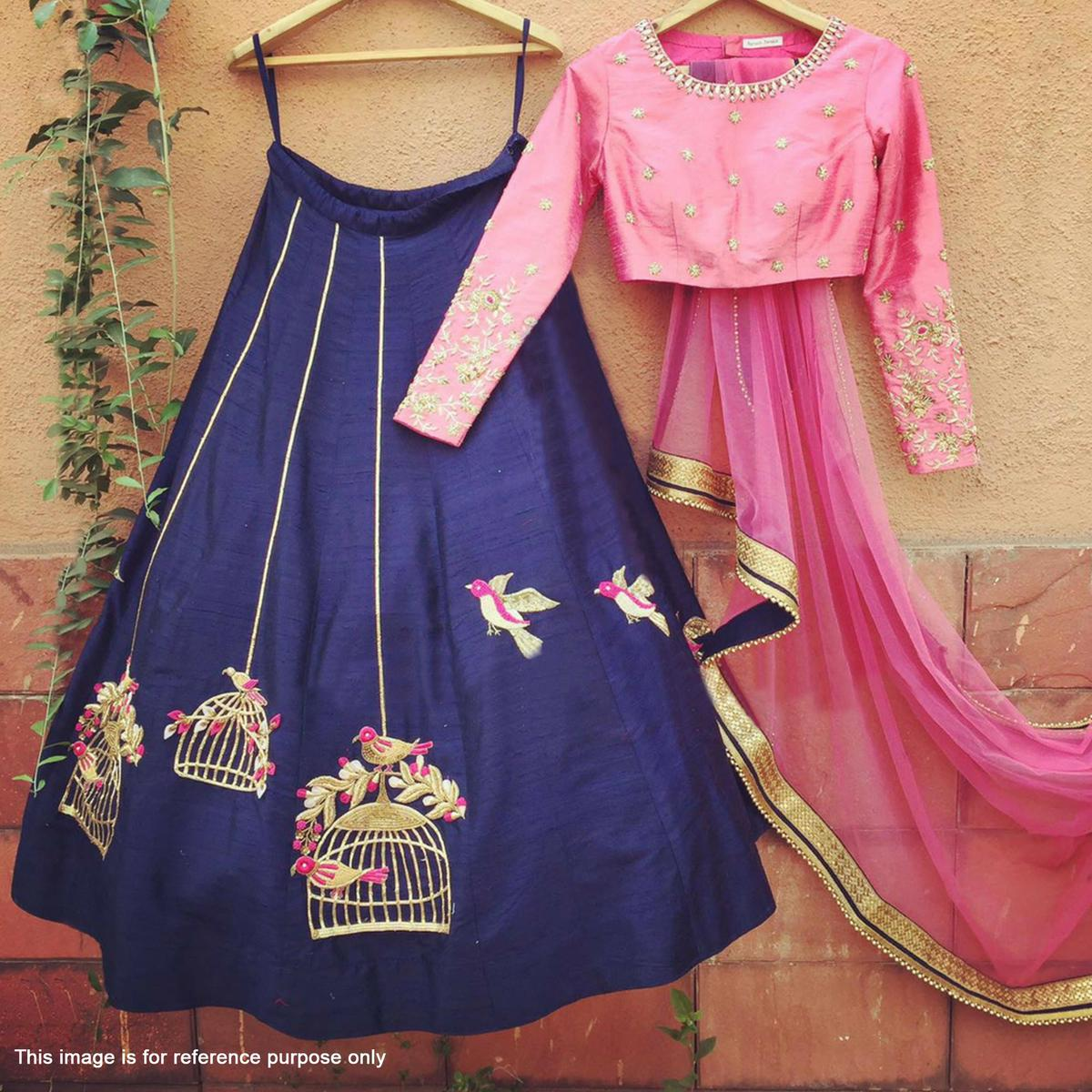 Navy Blue Lehenga with Pink Choli & Dupatta