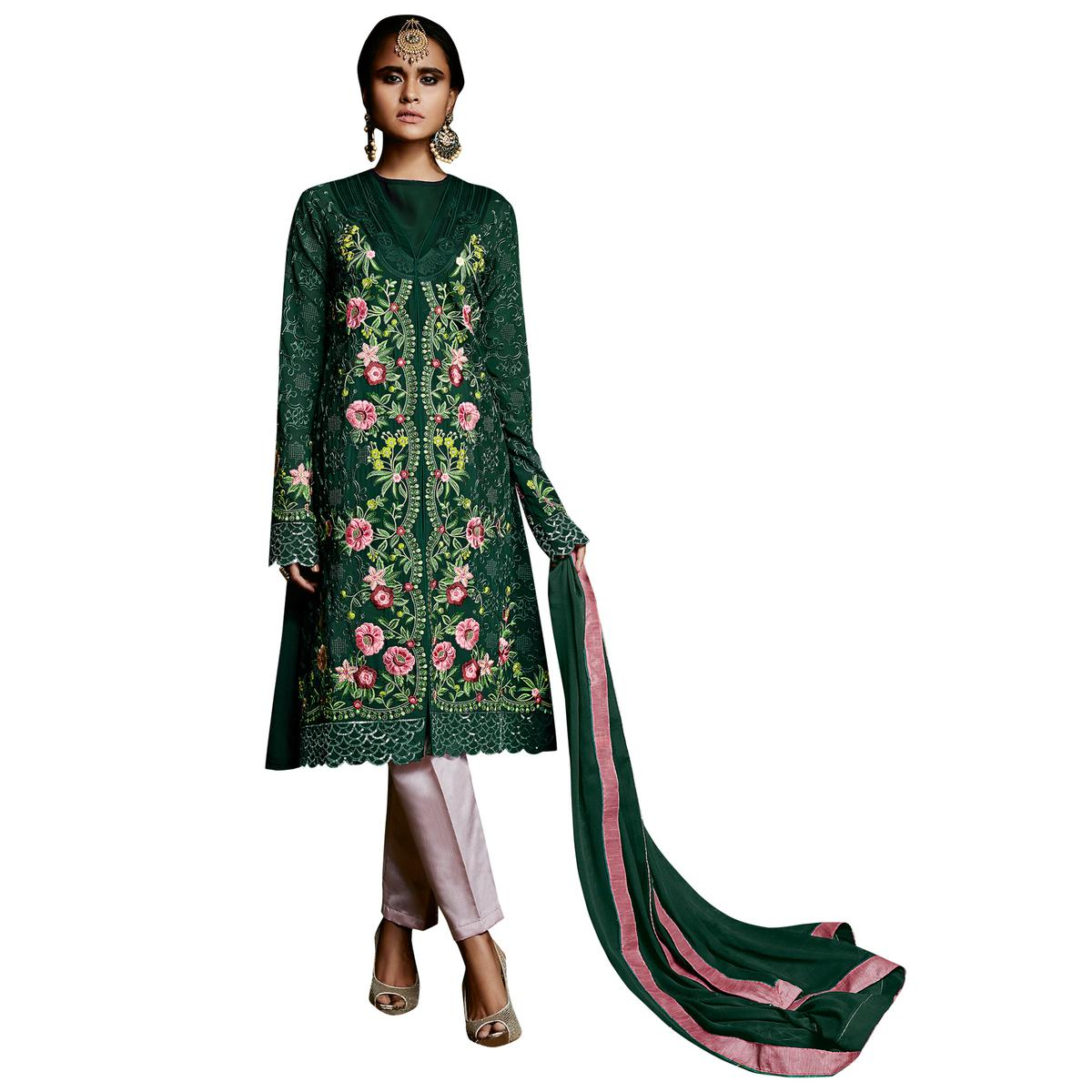 Beautiful Green Colored Partywear Embroidered Georgette Suit
