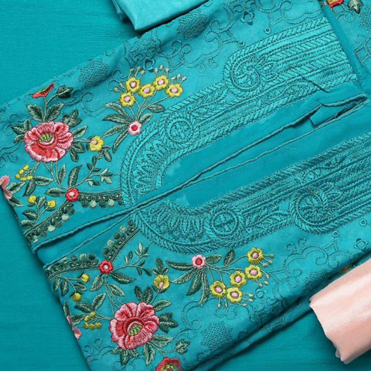 Exceptional Turquoise Green Colored Partywear Embroidered Georgette Suit