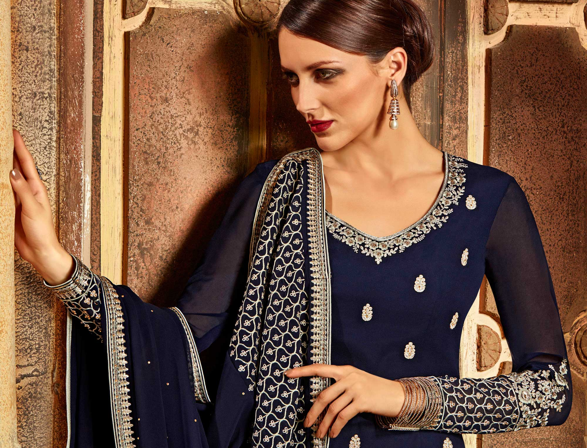 Navy Blue Faux Georgette Lehenga Suit