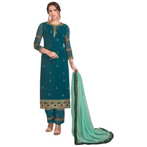 Exceptional Rama Colored Partywear Embroidered Georgette Suit