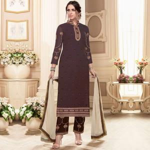 Blooming Brown Colored Partywear Embroidered Georgette Suit