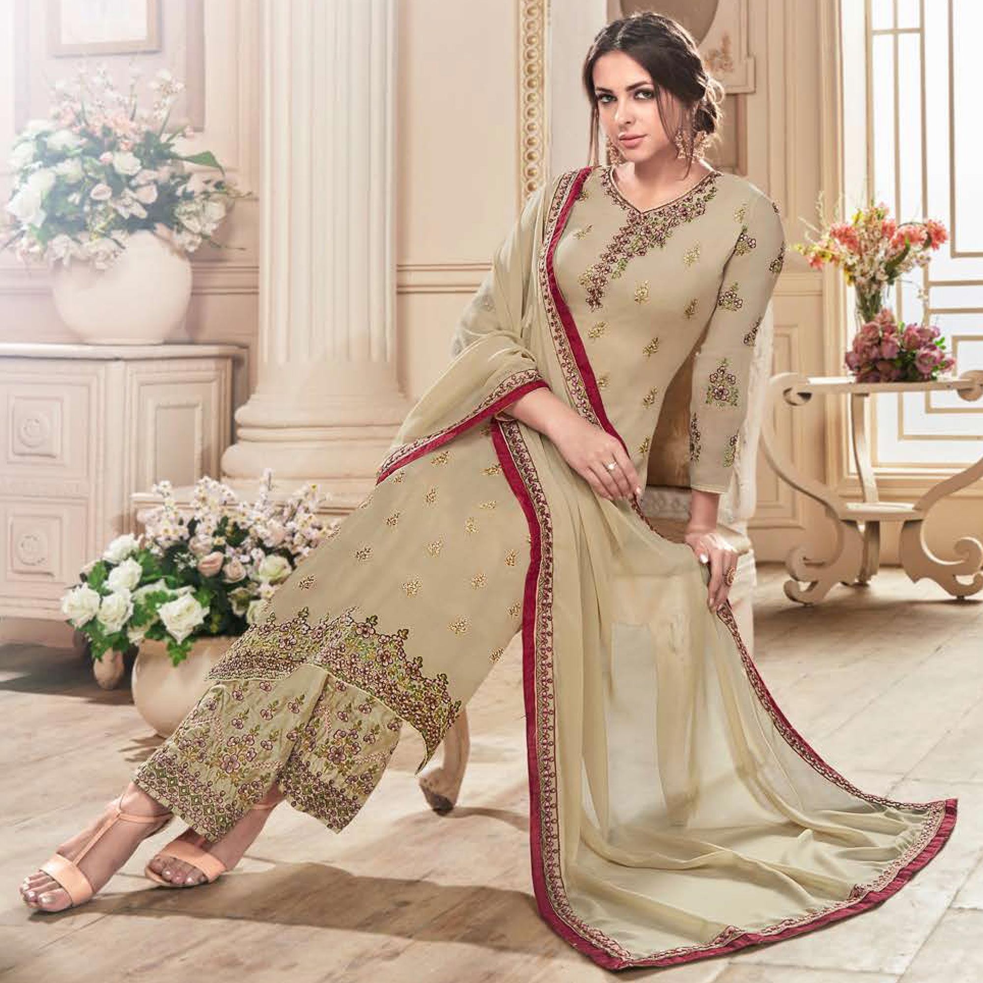Pleasant Beige Colored Partywear Embroidered Georgette Suit