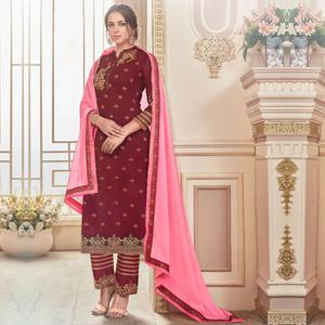 Majestic Maroon Colored Partywear Embroidered Georgette Suit