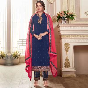 Impressive Navy Blue Colored Partywear Embroidered Georgette Suit