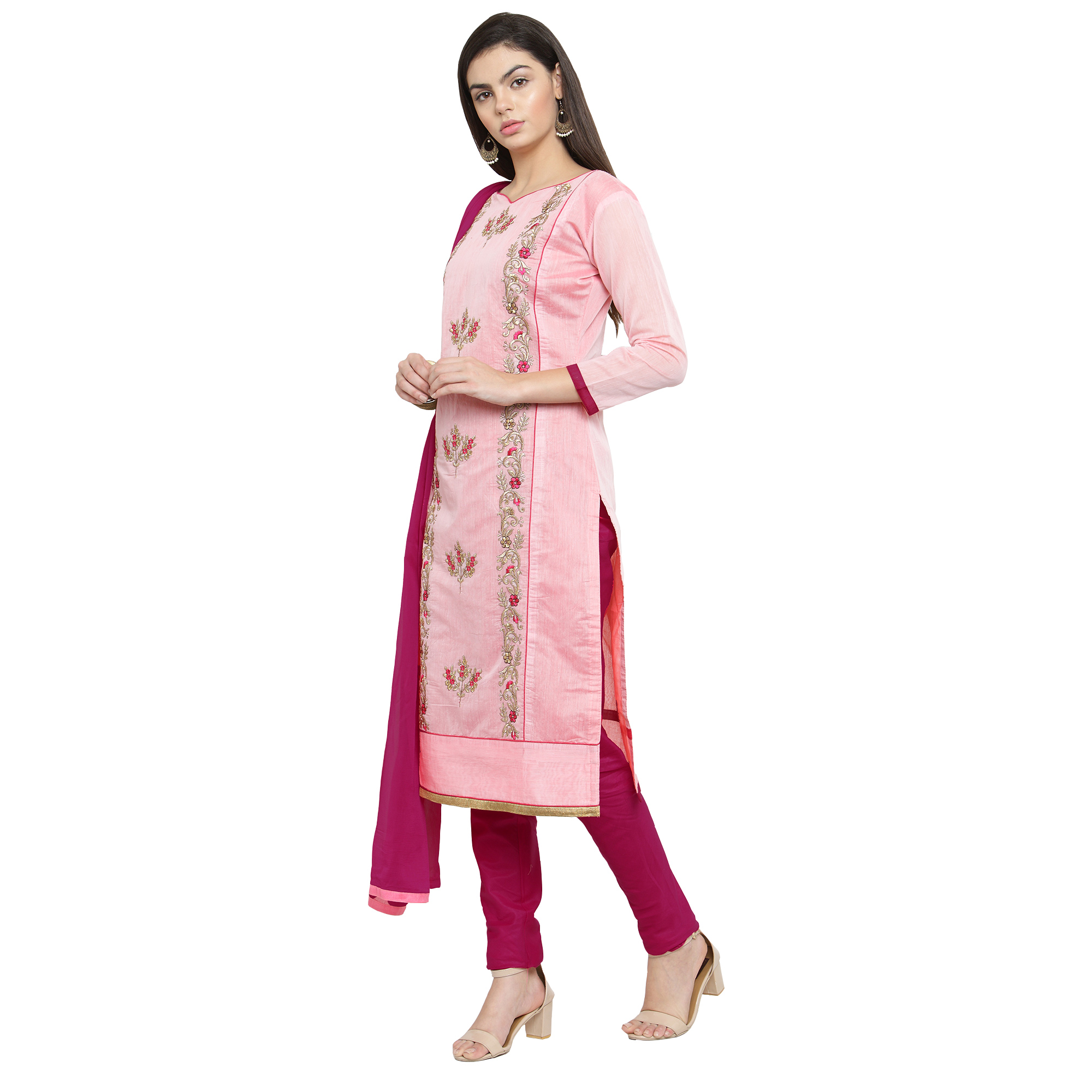 Charming Pink Colored Casual Embroidered Chanderi Silk Dress Material