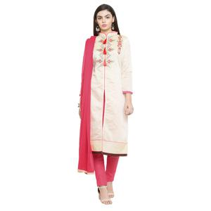 Glowing Off-White Colored Casual Embroidered Chanderi Silk Dress Material
